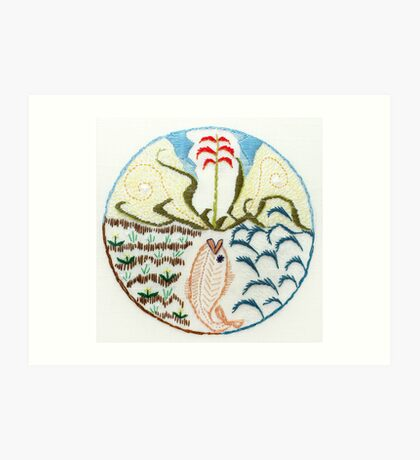 Fish (intuitive embroidery) Art Print