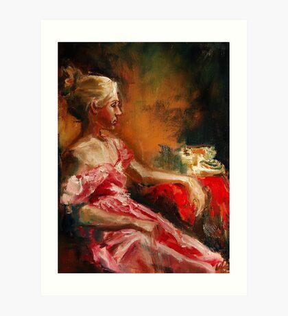 Waiting...oil painting original Art Print