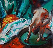 the bath tub degas remake  original oil painting by andrassyp