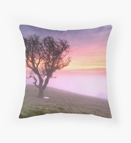 Misty Sunrise, near Kendal, Cumbria Throw Pillow