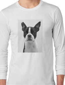 Portrait of Meryl the Boston Terrier Long Sleeve T-Shirt
