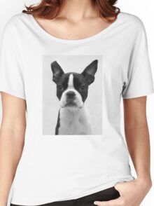 Portrait of Meryl the Boston Terrier Women's Relaxed Fit T-Shirt