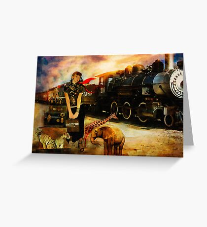 Her Traveling Menagerie Greeting Card