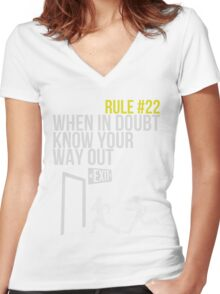 Zombie Survival Guide - Rule #22 - When In Doubt, Know Your Way Out Women's Fitted V-Neck T-Shirt