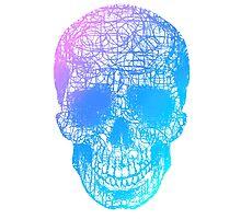 Rainbow Scribble Skull Photographic Print