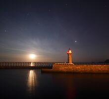 Whitby - East Pier and Moonrise by PaulBradley