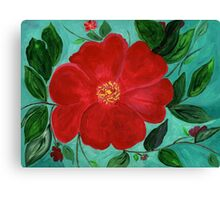 Red & Green a Christmas Flower Canvas Print