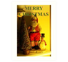 santa and snowman christmas card Art Print