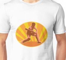 cricket player batsman batting India RETRO Unisex T-Shirt
