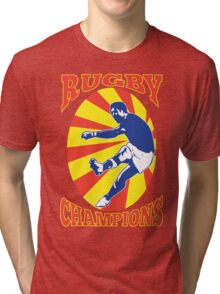 rugby player kicking ball retro style Tri-blend T-Shirt