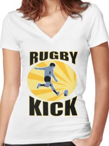 rugby player kicking ball retro style Women's Fitted V-Neck T-Shirt