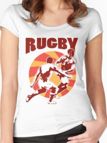 rugby player running passing tackling ball retro style Women's Fitted Scoop T-Shirt