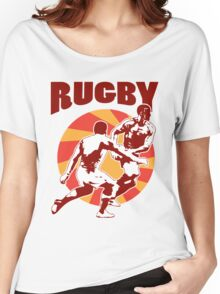 rugby player running passing tackling ball retro style Women's Relaxed Fit T-Shirt