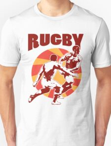 rugby player running passing tackling ball retro style T-Shirt