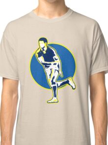 rugby player running passing ball retro style Classic T-Shirt
