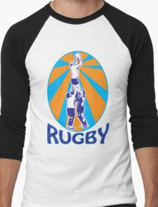 rugby players jumping catching line-out ball retro style Men's Baseball ¾ T-Shirt
