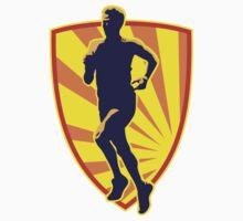 Marathon runner running race retro style by patrimonio