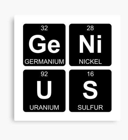 Ge Ni U S - Genius - Periodic Table - Chemistry Canvas Print