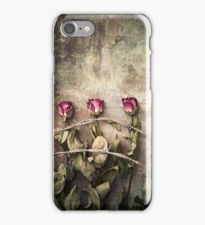 three dried roses and barbed wire iPhone Case/Skin