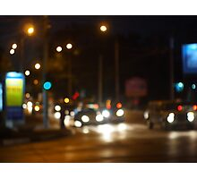 Abstract colored lights from moving vehicles Photographic Print