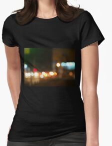 Abstract image of a night city scene Womens Fitted T-Shirt