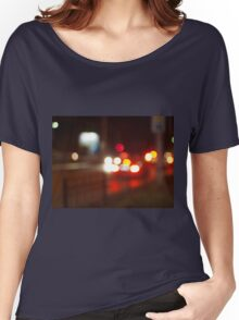 Blurred image of light from the glare of headlights Women's Relaxed Fit T-Shirt
