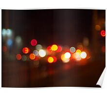 Abstract and blur colored lights of the night city Poster