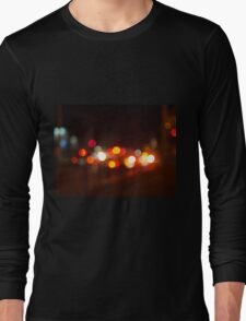 Abstract and blur colored lights of the night city Long Sleeve T-Shirt