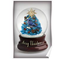 ˚✰˚ ˛★* 。 ˛CHRISTMAS TREE BLUE JAY SNOW GLOBE #2 ˚✰˚ ˛★*  Poster