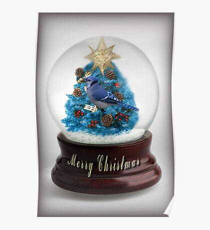 ˚✰˚ ˛★* 。 ˛CHRISTMAS TREE BLUE JAY SNOW GLOBE #2 ˚✰˚ ˛★*  Poster