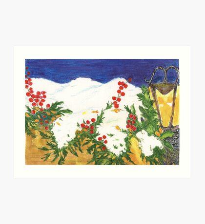 Snow on Holly Art Print