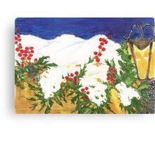 Snow on Holly Canvas Print