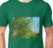 Side view of a young pine tree branch with long needles Unisex T-Shirt