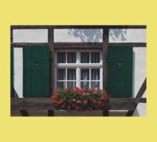 Green Window with Geranium Flowers Kids Tee