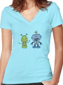 robot friends Women's Fitted V-Neck T-Shirt