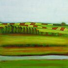 Farming Landscape, mixed media on canvas by Sandrine Pelissier