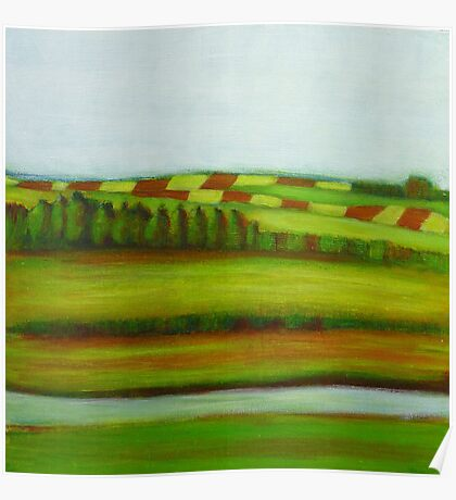 Farming Landscape, mixed media on canvas Poster