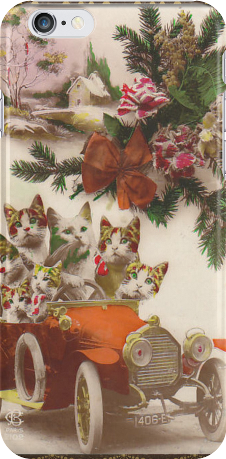 Cats on Wheels iPhone Case by leapdaybride