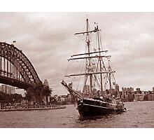 The Tall Ship & Sydney Harbour, NSW, Australia Photographic Print