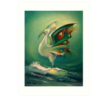 The Bird of Happiness on the Wave of Success! Art Print
