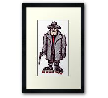 Hitman on Rollerblades pen ink drawing Framed Print