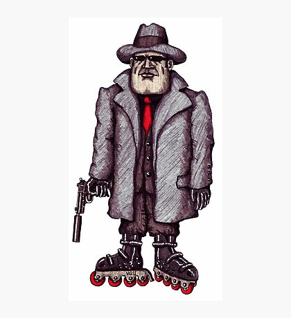 Hitman on Rollerblades pen ink drawing Photographic Print