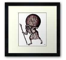 Aging Atlas surreal black and white pen ink drawing Framed Print