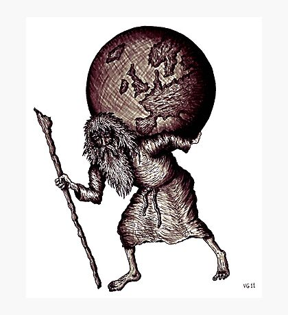 Aging Atlas surreal black and white pen ink drawing Photographic Print