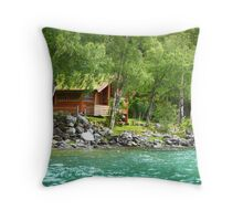 Living at the Water's Edge in Skjolden, Norway Throw Pillow