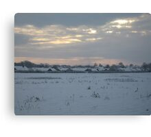Snowy Lincolnshire Fields Canvas Print