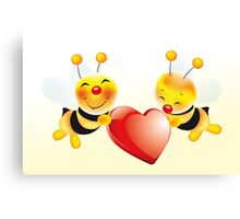 Two cute bees in love Canvas Print