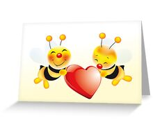 Two cute bees in love Greeting Card