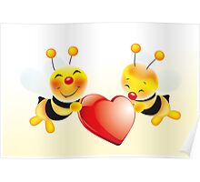 Two cute bees in love Poster
