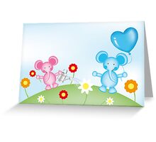 Happy elephants illustration for kids Greeting Card